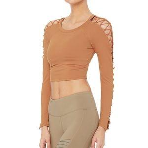 Alo Yoga- High Line Long Sleeve  Crop Top